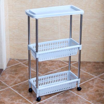 佳家達(JIAJIADA) 可移動廚房夾縫置物架帶輪塑料縫隙整理架落地窄浴室冰箱旁收納架