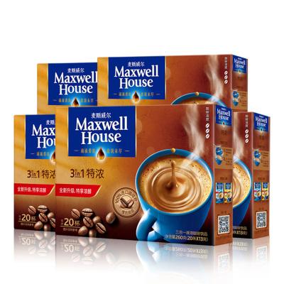 麦斯威尔特浓咖啡饮品三合一即速溶咖啡粉20条260g*5盒装