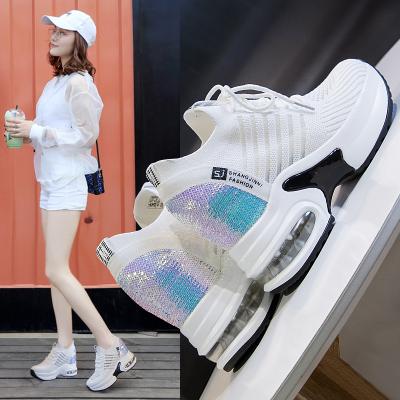 時言SHIYAN 內增高女鞋春季新品韓版透氣休閑鞋女坡跟厚底運動鞋戶外輕便氣墊鞋飛織網面女鞋
