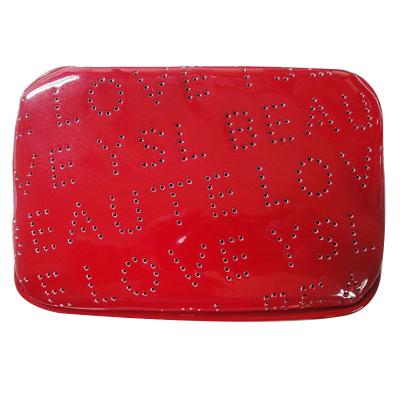 圣羅蘭(YSL) 普普風漆皮化妝包 熱戀紅 收納包 尺寸 14*10*6cm 紅色系