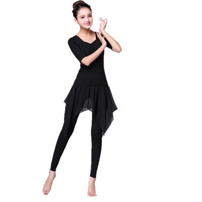 因樂思(YINLESI)民族舞練功服 舞蹈練功服現代舞服裝女套裝 古典形體跳舞服拉丁舞夏