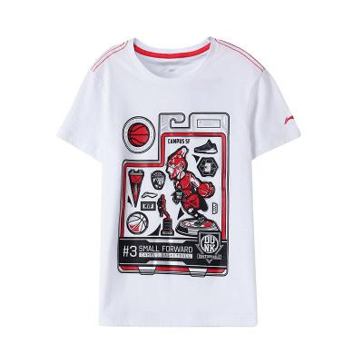 李寧童裝短袖T恤新款男大童7-12歲吸濕純棉短裝夏季運動服