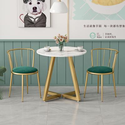 花千紫北歐大理石圓桌奶茶店桌椅組合咖啡廳小吃店網紅餐桌簡約接待桌子