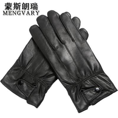 蒙斯朗瑞 真皮手套男女保暖手套秋冬季加絨騎車手套韓版戶外情侶防風開車手套