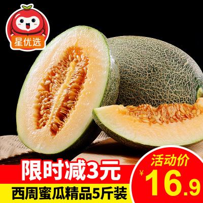 星優選 山東精品西周蜜瓜5斤裝 哈密瓜網紋瓜香瓜甜瓜 新鮮水果 現摘現發 脆甜多汁