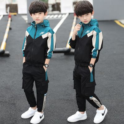 【品牌特賣】男童秋裝套裝2019新款兒童裝春秋運動大童男孩兩件套13歲 POTRAVEL.DESIGN