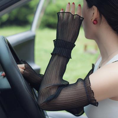 夏天防曬袖套女長款蕾絲手套薄款防zi外線開車手袖護臂手臂套威珺