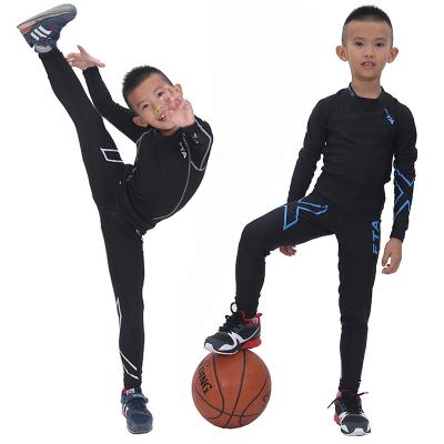兒童緊身衣套裝運動長袖健身服男彈力足球籃球打底訓練速干緊身褲