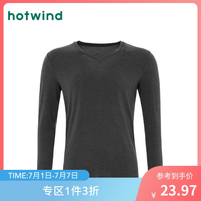 熱風hotwind男士輕暖V領長T恤P428M8301