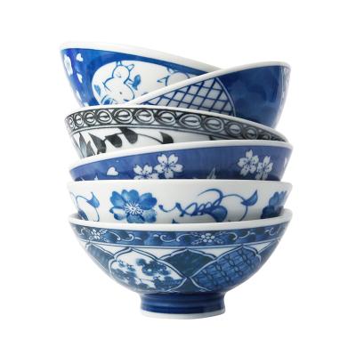 美濃燒日本進口陶瓷碗家用日式和風餐具飯碗面碗青花瓷6碗套裝禮品