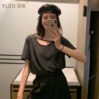 YUDI語弟 夏裝閃光亮片掛脖小心機短袖T恤女