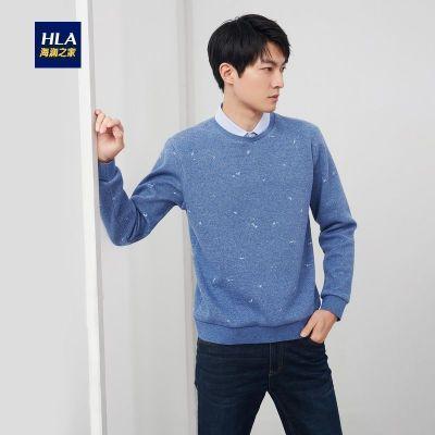HLA海澜之家花纹双领针织衫2019冬季保暖加绒套头款假两件HNTJD4R147A