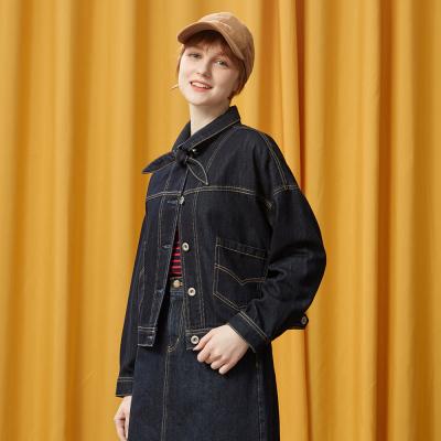 【1件3折价:69】美特斯邦威夹克女休闲短外套韩版上衣复古牛仔茄克秋装新款