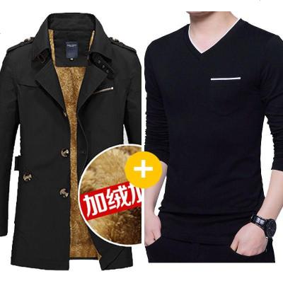 春秋冬季加绒风衣男士装中长款夹克潮流修身外套加厚大衣大码