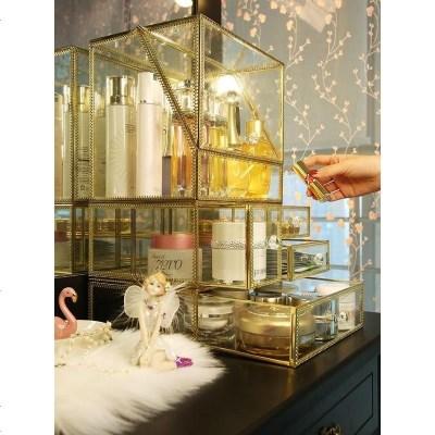 大号玻璃化妆品收纳盒匠造防尘翻盖护肤桌面整理盒非亚克力首饰架