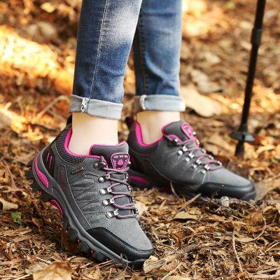 【品牌特卖】户外鞋女秋冬季防滑耐磨登山鞋休闲防水运动鞋保暖加绒棉鞋徒步鞋