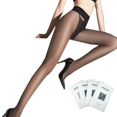 VEACOW【4條裝】女士薄款T檔包芯絲連褲襪腳尖加固 時尚誘惑絲襪