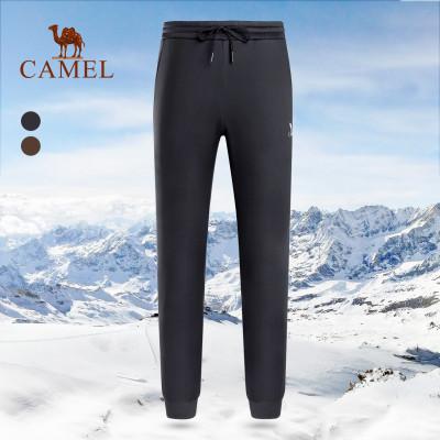 CAMEL駱駝戶外抓絨褲 秋冬情侶款男女加絨加厚耐磨保暖沖鋒登山抓絨褲