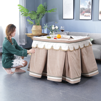 原创新款文艺烤火罩正方形电暖炉罩套长方形取暖桌罩茶几烤火被弧威