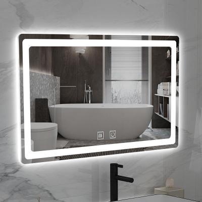 智能鏡子掛墻浴室鏡除霧鏡觸摸屏衛生間防霧鏡子帶燈壁掛式衛浴鏡弧威(HUWEI)