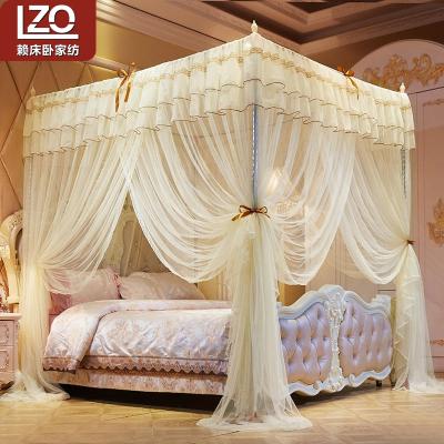 賴床臥(LZO)家紡 宮廷三開門落地蚊帳家用加密加厚公主風1.8m床1.5米1.2支架歐式
