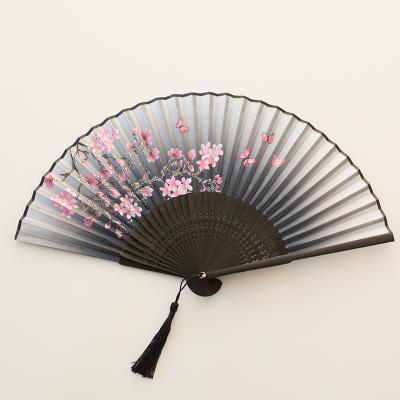 扇子折扇中國風舞蹈扇女夏季折疊扇古裝兒童小復古布古典古風折扇 02面若桃花(扇骨升級)