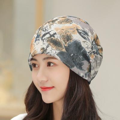 迪魯奧(DILUAO)帽子女式春夏季薄款套頭帽透氣光頭化療帽堆堆帽月子帽包頭巾時尚