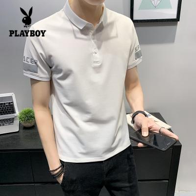 花花公子 ( PLAYBOY ICON )2020夏季新款潮男韓版修身短袖T恤男上衣T恤衫純色百搭休閑POLO衫