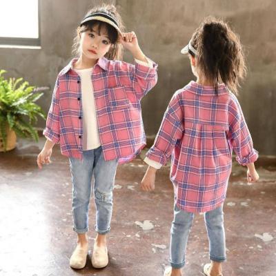 問荷 女童秋季薄襯衫2019新款中大兒童韓版長袖外套小學生八歲春裝襯衣