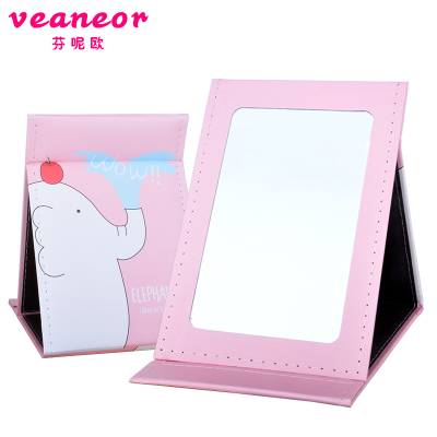 芬呢欧折叠化妆镜台式随身镜加厚高清单面镜子学生便携大梳妆镜