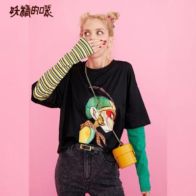 妖精的口袋假兩件黑色長袖T恤女2019秋季新款寬松條紋卡通上衣潮