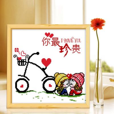 富朗 精準印花十字繡 居家掛飾 情侶可愛卡通情侶小幅 FN25