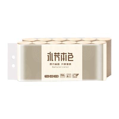 顺清柔 共享本色卷纸巾700g/12卷4层 原木无芯卫生纸