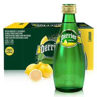 【柠檬玻璃瓶】巴黎水(Perrier)天然气泡矿泉水(柠檬味)玻璃瓶装 330ml*24瓶/箱 进口饮用水 法国进口