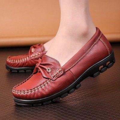 克卜勒kebule 软底平跟舒适老人鞋单鞋中老年妈妈鞋真皮中年女鞋休闲皮鞋