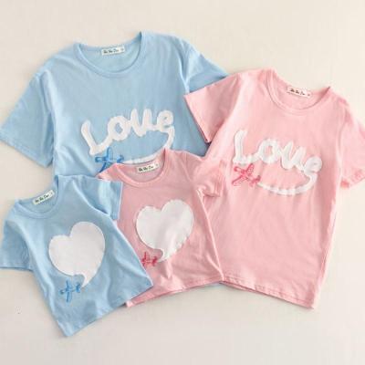 婴儿亲子装夏装母子母女全家装沙滩休闲棉短袖T恤儿夏韩版