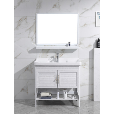 落地式卫生间小户型洗脸池洗手盆洗漱台柜组合太空铝陶瓷台盆一体