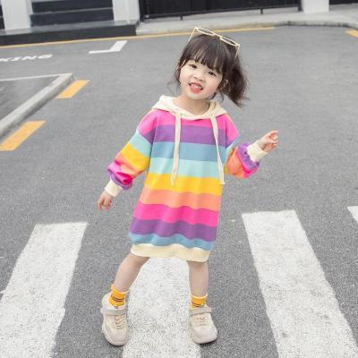 抹炫(MOXUAN)女童彩虹衛衣裙2019新款秋裝兒童上衣女韓版寶寶洋氣連衣裙1-3歲