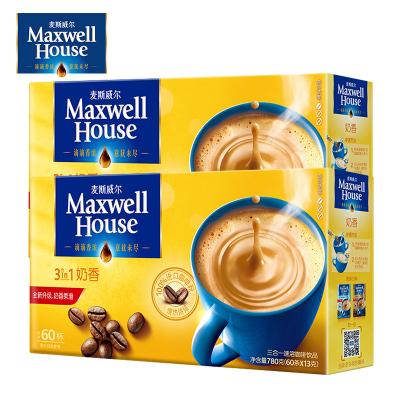 麦斯威尔咖啡奶香味三合一速溶咖啡粉60条780g*2盒装