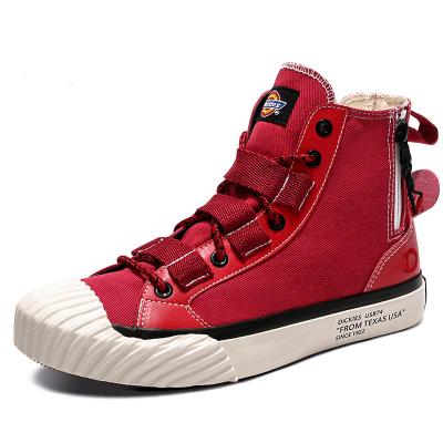 DICKIES女鞋2019新款高幫帆布鞋紅色經典板鞋百搭潮流鞋191W50LXS01