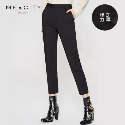 【3件1.5折价:64.4】预售|MECITY女新款黑色弹力通勤直筒裤打底裤休闲长裤-CC