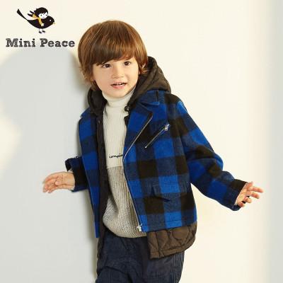 Mini Peace太平鸟童装男童大衣蓝黑格子拼接连帽厚外套秋冬装新款其他儿童呢大衣