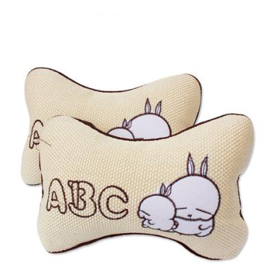 馳卡行汽車頭枕卡通冰絲護頸枕頭 汽車用品可拆洗四季車用枕頭靠枕頭枕2個 亞麻頭枕 ABC兔子一對裝