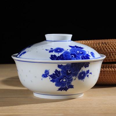 LICHEN 景德镇青花玲珑瓷器餐具 釉下彩陶瓷碗盘勺碟自由搭配 7英寸盖碗 一个