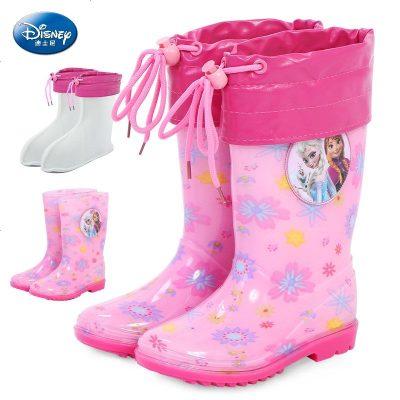 儿童冰雪奇缘公主雨鞋宝宝雨靴女童爱莎保暖防滑宝宝内胆水鞋套装