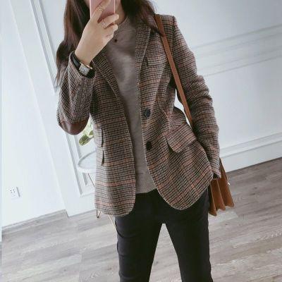 班俏BANQIAO格子小西裝外套女2020春秋新款短款韓版大碼復古女士西服上衣外套
