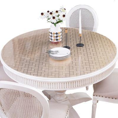 歐式圓桌布防水防油防燙免洗哦pvc圓形家用餐桌墊軟塑料玻璃透明 香檳金格子磚 圓形60cm