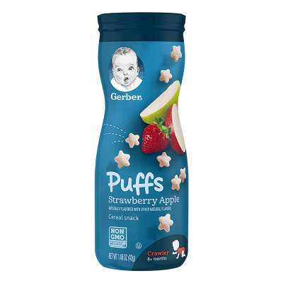 【品牌授權】美國進口嘉寶(Gerber)嬰幼兒手指餅干/草莓蘋果星星泡芙42g 8個月以上 罐裝