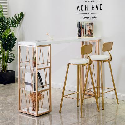 尋木匠吧臺桌椅組合陽臺奶茶店靠墻咖啡廳家用小戶型實木大理石簡約現代