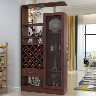 顧致酒柜靠墻現代簡約家用客廳玄關柜落地式實木多功能酒柜儲物柜隔斷